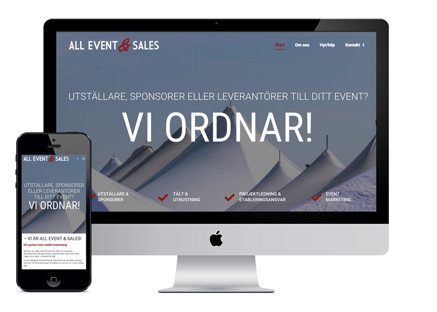 All Event & Sales Wordpress hemsida